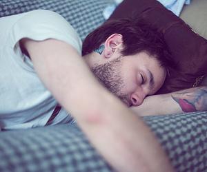 boy, tattoo, and sleep image