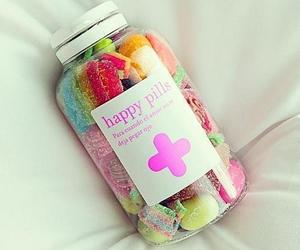 happy, pills, and sweet image