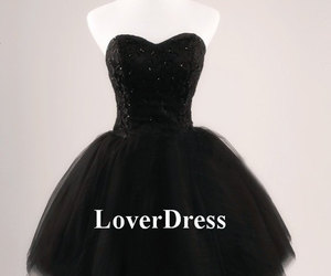 little black dress and ball gown prom dress image