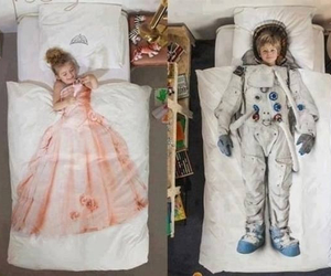 bed, princess, and boy image