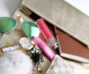 fashion, bag, and lipgloss image