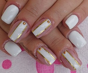 gel, gold, and nails image