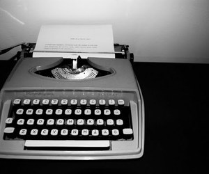 black and white, text, and typewriter image