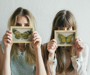 vintage, butterfly, and hair image