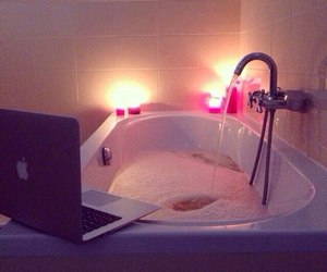 bath, relax, and apple image