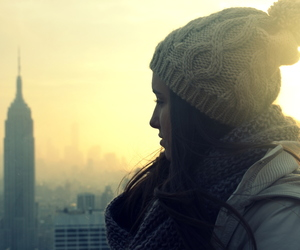 empire state, sun, and girl image