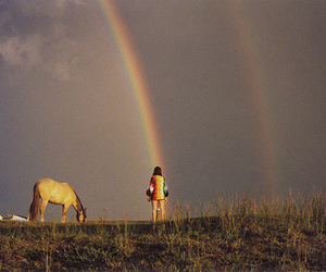 rainbow, girl, and horse image