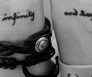 tattoo, black and white, and infinity image