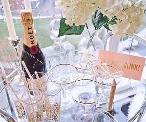 flowers, champagne, and drink image