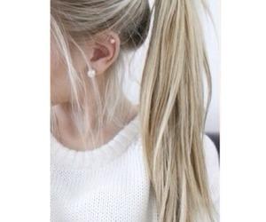 hair, earrings, and girl image