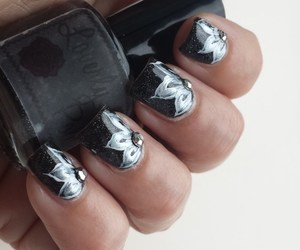 black nails, manicure, and nail art image