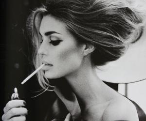 smoke, black and white, and cigarette image