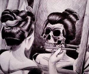skull, black and white, and mirror image
