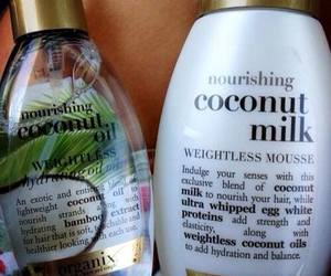 coconut, hair, and beauty image