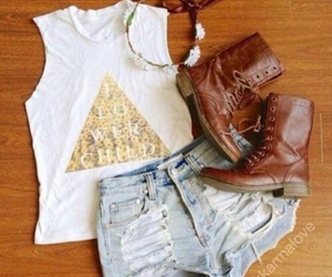 outfit, boots, and style image