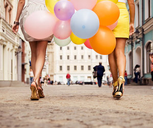 balloons, girl, and heels image