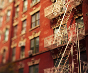 fire escape, new york, and red image