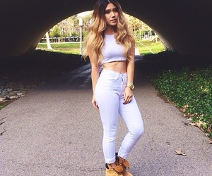style, white, and timberlands image