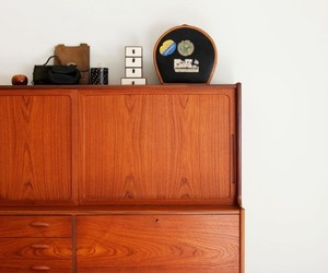 furniture, minimalist wooden cabinet, and stripped wood motif image