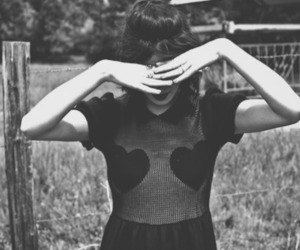 b&w, girl, and hearts image