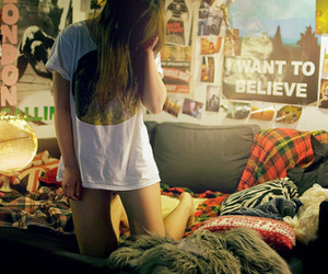 girl, room, and alone image