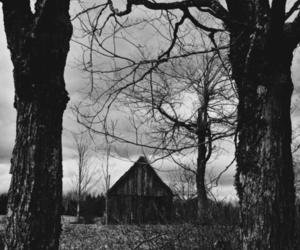 dark, house, and black and white image