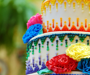 cake, rainbow, and colorful image
