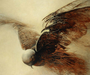 bird and Zdzislaw Beksinski image