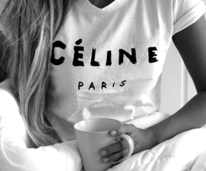 black and white, celine, and coffe image