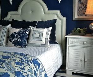 bedroom, blues, and home decor image