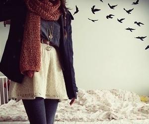 fashion, bird, and scarf image