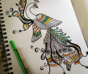 art, peacock, and bird image