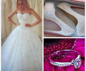 wedding, dress, and ring image