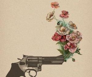 flowers, gun, and rose image