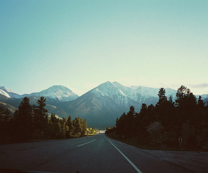 mountains, road, and tree image