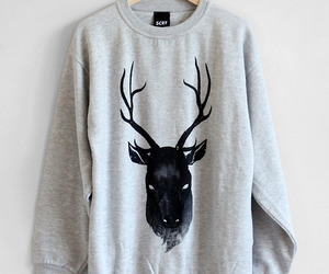 deer, sweater, and clothes image