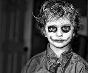 joker, black and white, and boy image