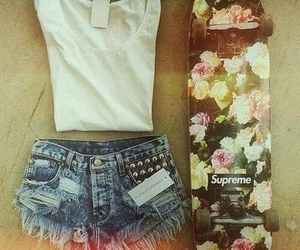 fashion, outfit, and skateboard image