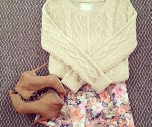 flower, heel boots, and long sleeve image