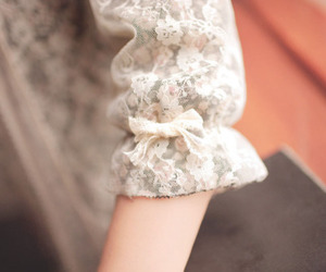 bow, lace, and floral image