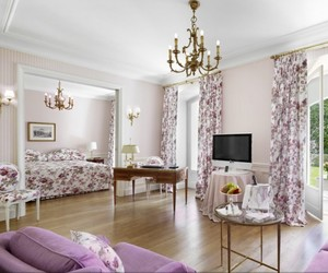 bedroom, purple, and white image
