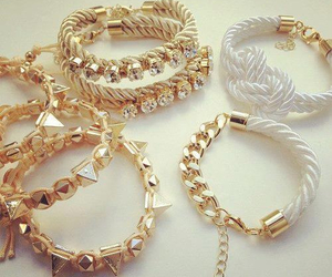 bracelet, gold, and white image