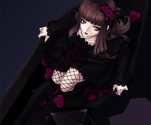 anime, brown hair, and coffin image