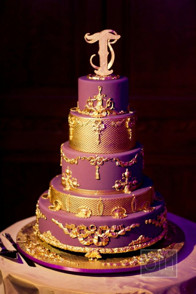 Purple and Gold Ornate Wedding Cake on We Heart It