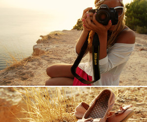 girl, camera, and shoes image