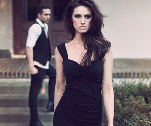 dress, black, and brunette image