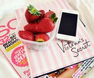 iphone, magazine, and strawberry image