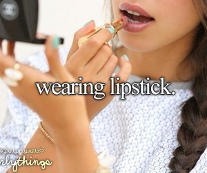 lipstick, girly, and wearing image