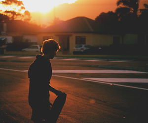 boy, skate, and sunset image