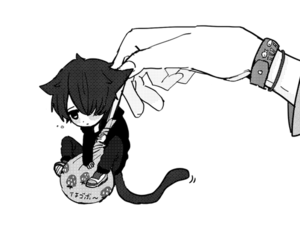 cat, anime, and black and white image